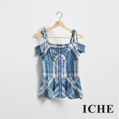 ICHE 衣哲 英式格紋印花露肩拼接造型上衣