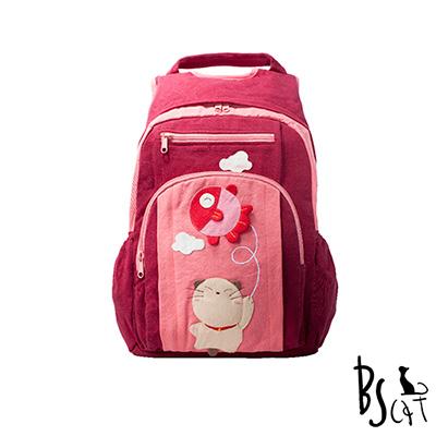 ABS貝斯貓 可愛貓咪拼布 雙肩後背包 背包 (暗紅) 88-199