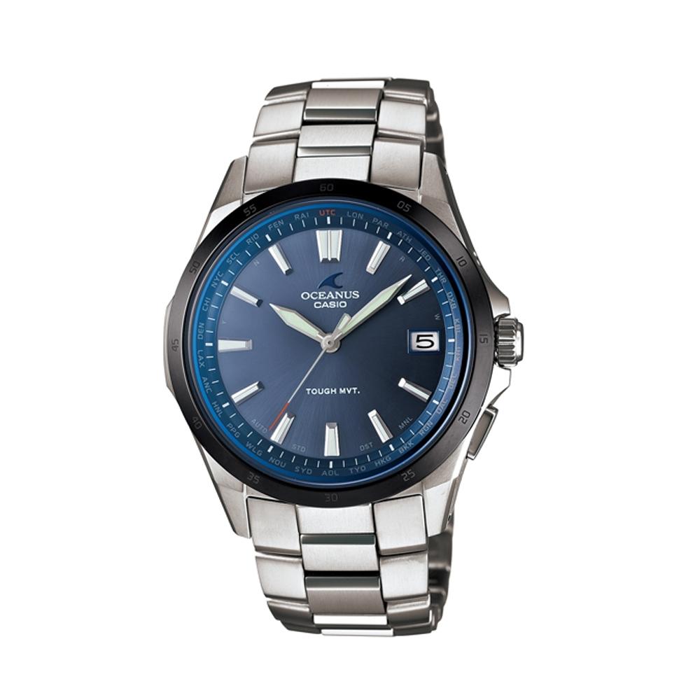 OCEANUS 靜謐深藍藍海洋【鈦】時尚電波錶-深藍/45.7mm