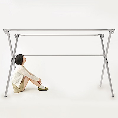 全不鏽鋼2米專利重力鎖X型三桿伸縮曬衣架