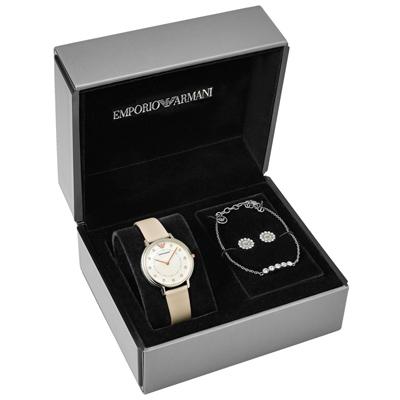 EMPORIO ARMANI 牡丹雅緻晶鑽時尚套錶組-AR80001/31mm