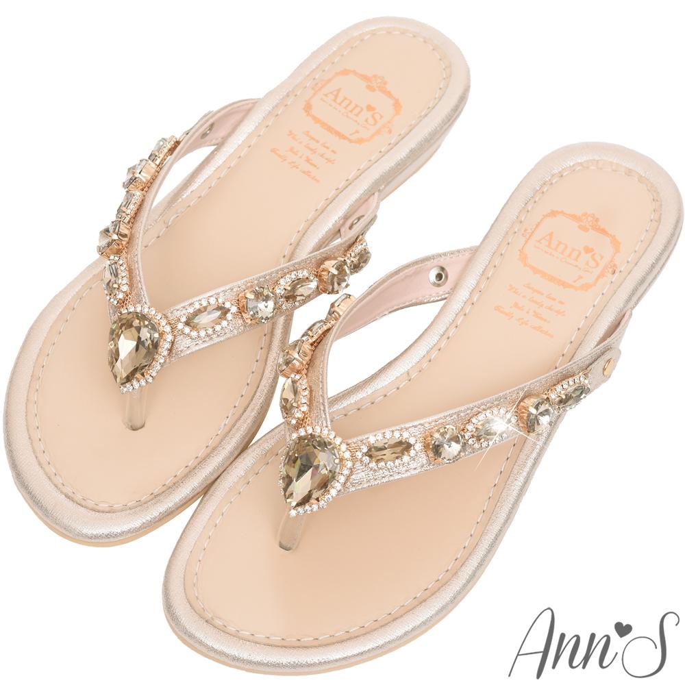 Ann'S透徹水鑽寶石夾腳涼拖鞋-金