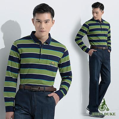 JOHN DUKE 經典紳士條紋配色POLO衫_藍綠(60-6V2559)