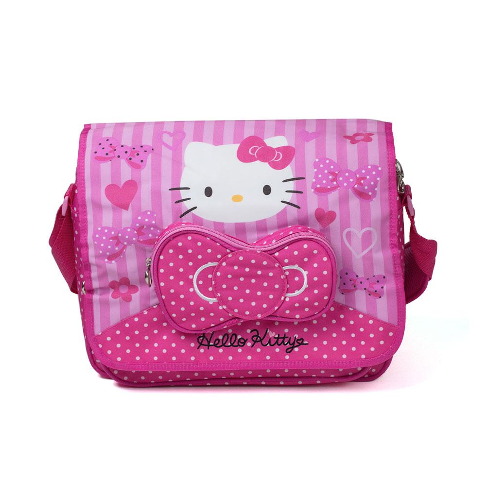 Sanrio HELLO KITTY粉紅緞帶系列側背書包