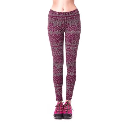 【hilltop山頂鳥】女款PUFY抗UV吸濕排汗抗皺彈性內搭褲S07FE4-紅印花
