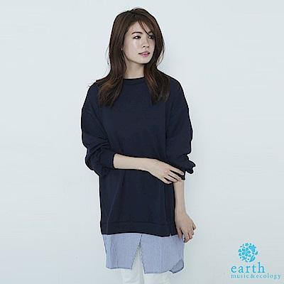 earth music 襯衫下襬拼接層次長版上衣