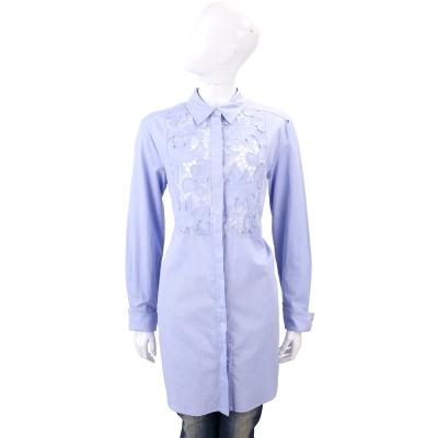 Max Mara-SPORTMAX 藍色簍空雕花長版棉質襯衫