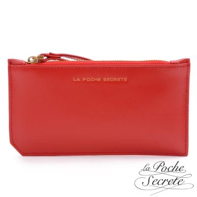 La Poche Secrete真皮 簡約真皮實用卡夾零錢手拿包-魅力紅