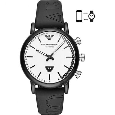 Emporio Armani Connected 運動風指針式智慧錶-白x黑/42mm