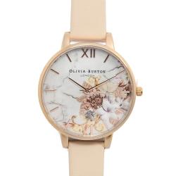 Olivia Burton 大理石花卉紋路粉膚色真皮錶帶玫瑰金框-38mm