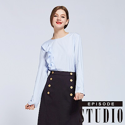 EPISODE Studio - 經典條紋荷葉造型上衣(藍)