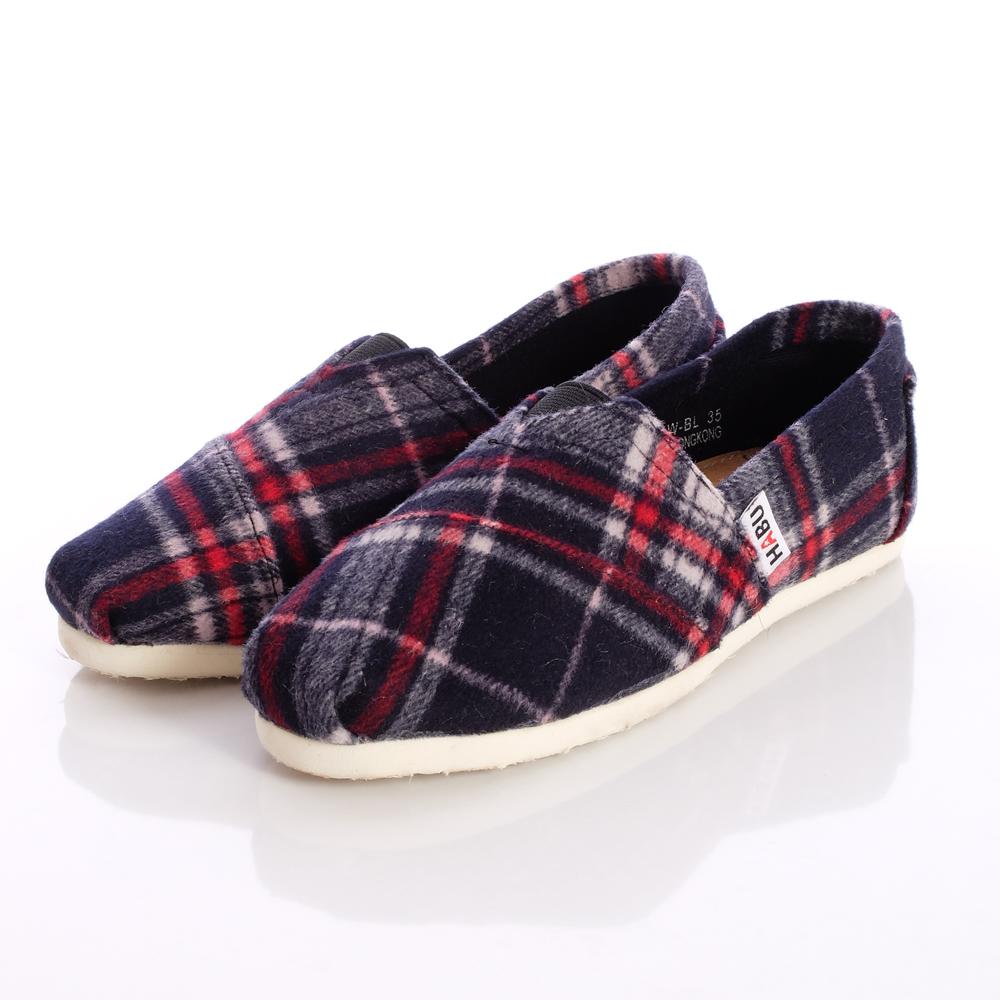 HABU韓式童鞋-毛呢不對稱格紋款-PQ01W-BL(女段)