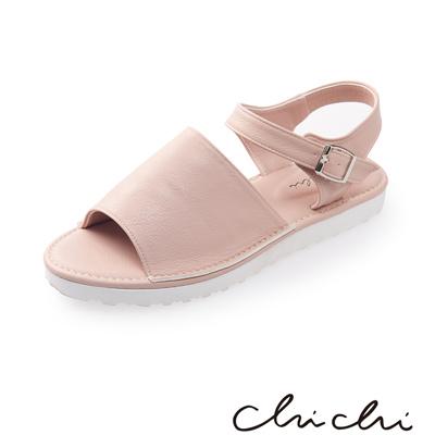 Chichi 寬帶側扣環厚底涼鞋*粉色