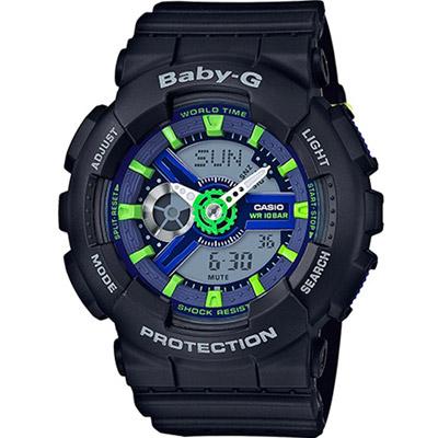 BABY-G  動感元素繽紛色運動錶(BA-110PP-1A)-黑43.4mm