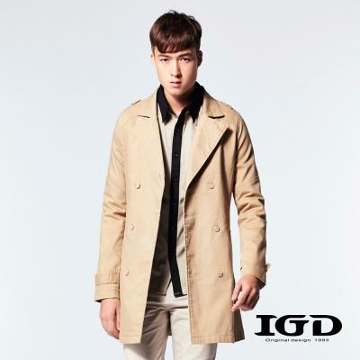 IGD英格麗-百年經典斜紋翻領風衣外套-卡其