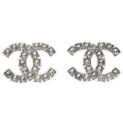 CHANEL 經典雙C LOGO水鑽鑲嵌穿式耳環(銀)