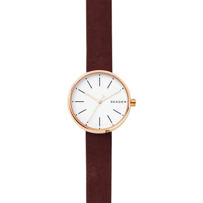 Skagen Signature 北歐時尚女錶-紅x玫塊金框/30mm