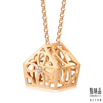 點睛品 愛情密語 浪漫花樣18K玫瑰金鑽石項鍊