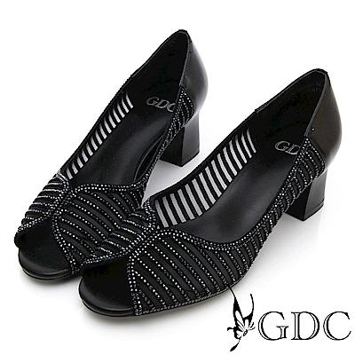 GDC-真皮鑲鑽簍空魚口粗跟鞋-黑色