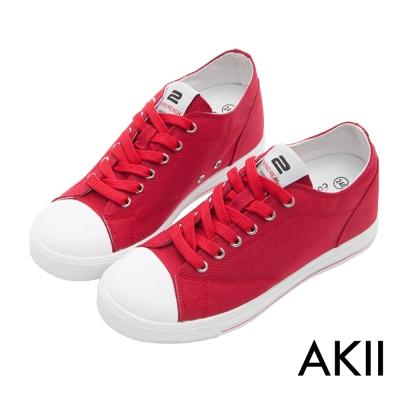 AKII韓國空運‧經典百搭內增高休閒帆布鞋-紅色