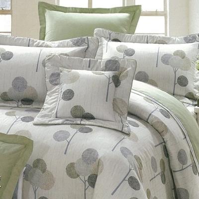 eyah宜雅 全程台灣製100%精梳純棉雙人加大床罩兩用被全舖棉五件組 輕鬆田園-灰