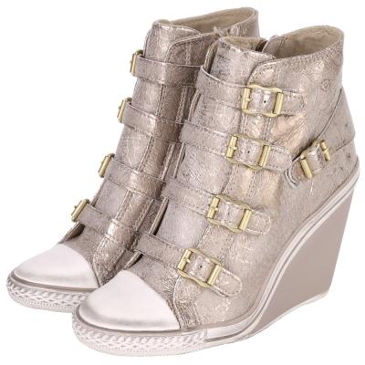 ASH THELMA 迸裂紋釦帶楔型休閒鞋(灰色)