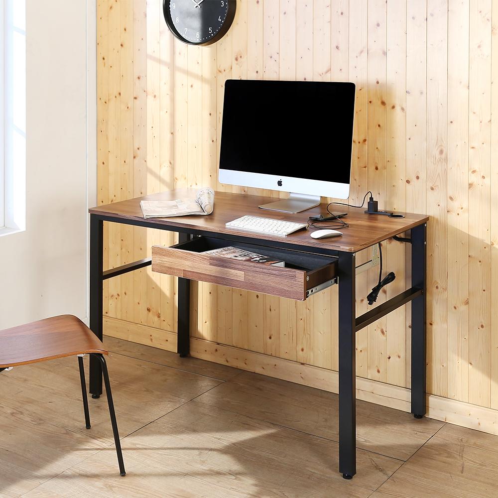 BuyJM工業風低甲醛防潑水附插座單抽屜工作桌120x60x79公分-DIY