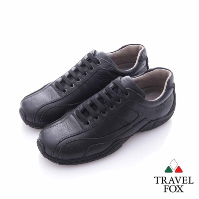 Travel Fox (男) 宜室宜家 全牛皮軟底運動休閒鞋- 黑