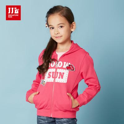 JJLKIDS 美式潮流女孩純棉外套(玫紅)