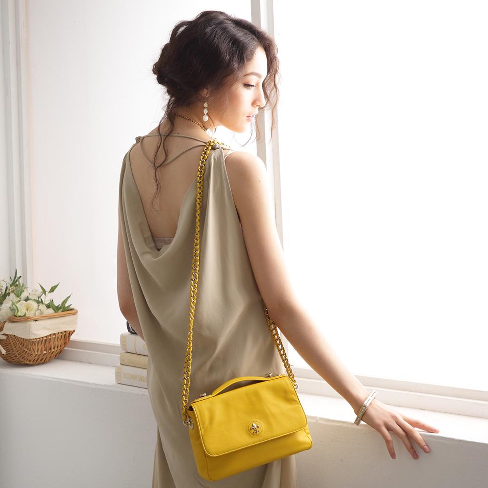 【義大利BGilio】- 經典高質感小羊皮鍊帶晚宴包 - 黃色 1699.007