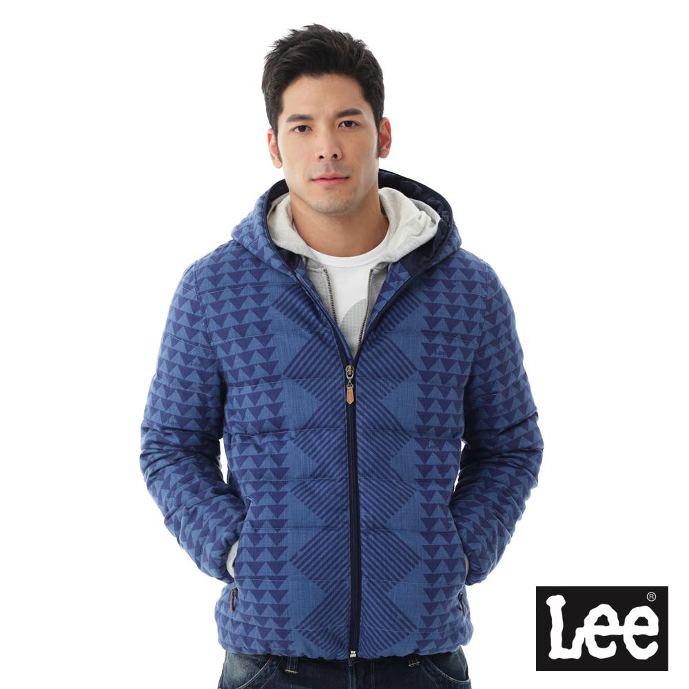 Lee Regional連帽幾何印花羽絨外套80%羽絨-男款-藍色