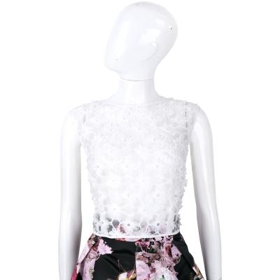 PINKO 白色紗質織花拉鍊設計無袖上衣