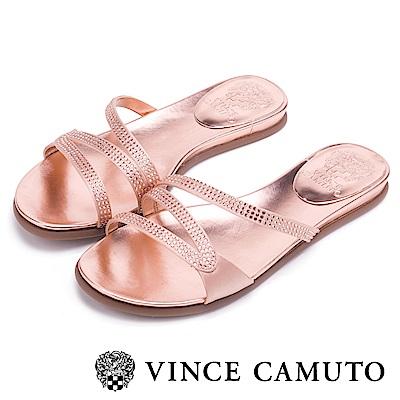 Vince Camuto 優雅水鑽流線平底拖鞋-粉色