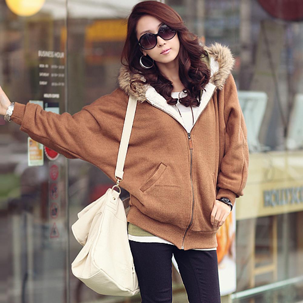 【N.C21】毛毛滾邊連帽保暖刷毛外套 (共四色)