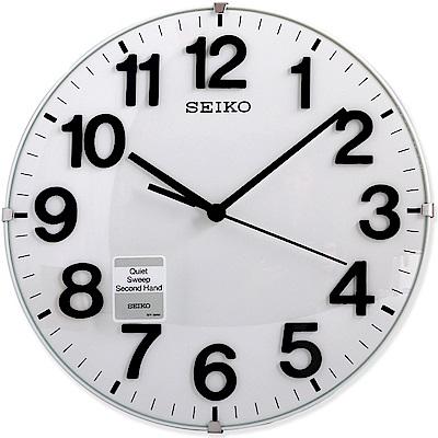 SEIKO 精工 現代3D立體凸鏡面無邊設計滑動秒針 二用座鐘 掛鐘