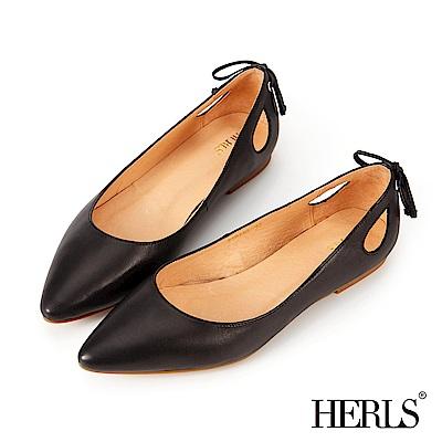 HERLS 優雅好感 全真皮蝴蝶結鏤空尖頭平底鞋-黑色