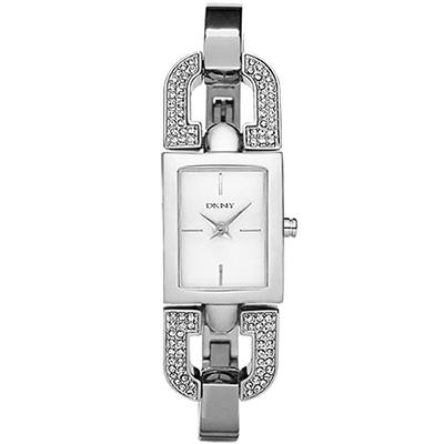 DKNY 雙D典雅別緻迷人晶鑽時尚腕錶-銀/17mm