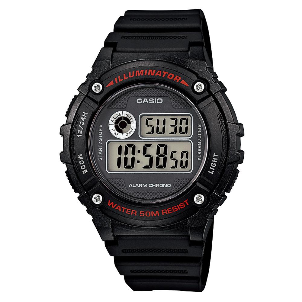 CASIO 元氣數位美學實用必備休閒錶-(W-216H-1A)黑x黑框/43mm