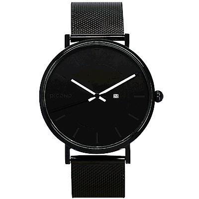 【PICONO】RGB 系列 輕薄黑色快拆式不鏽鋼網帶手錶 / RGB-6405 黑色