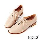 HERLS 全真皮簡約紳士牛津鞋-煙燻粉
