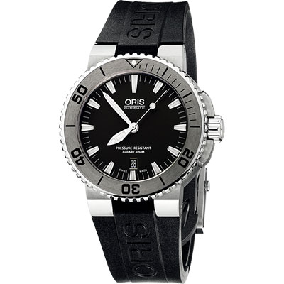 Oris Aquis 時間之海專業潛水機械腕錶-黑/43mm
