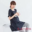 日系小媽咪孕婦裝-哺乳衣~數字22荷葉袖造型下襬上衣 (共三色)