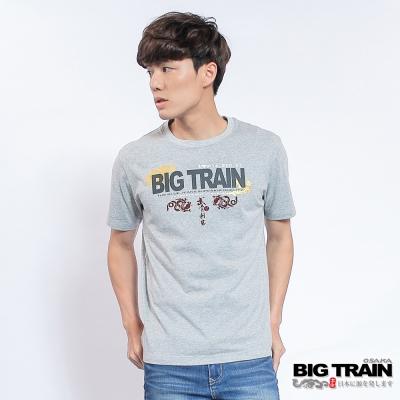 BIG TRAIN中大尺碼 加大武骨刺客LOGO圓領T-男-麻灰