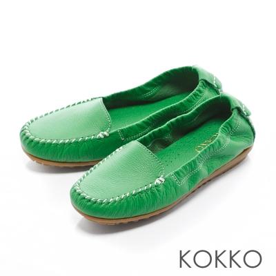 KOKKO - 人氣真皮彈力彎折豆豆樂福鞋 - 清萃綠