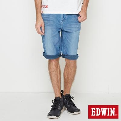 EDWIN 迦績褲JERSEY印花羅紋短褲-男-石洗藍