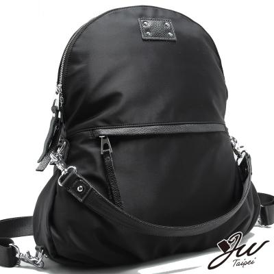 JW-真皮魁北克牛皮配絲光尼龍三用背包-共一色