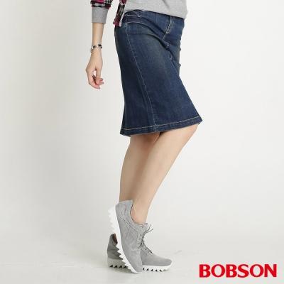 BOBSON 女款牛仔中長裙(藍53)