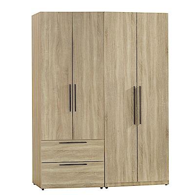 AT HOME-凱文4.6尺梧桐兩件組合衣櫃[二抽+雙吊)(140*54*197cm)
