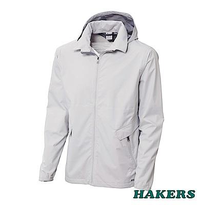 【HAKERS】男-3L防潑輕量防風休旅外套(銀白)