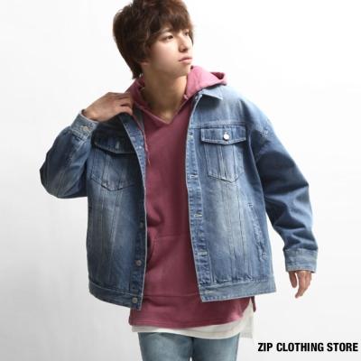 牛仔外套寬版 ZIP日本男裝